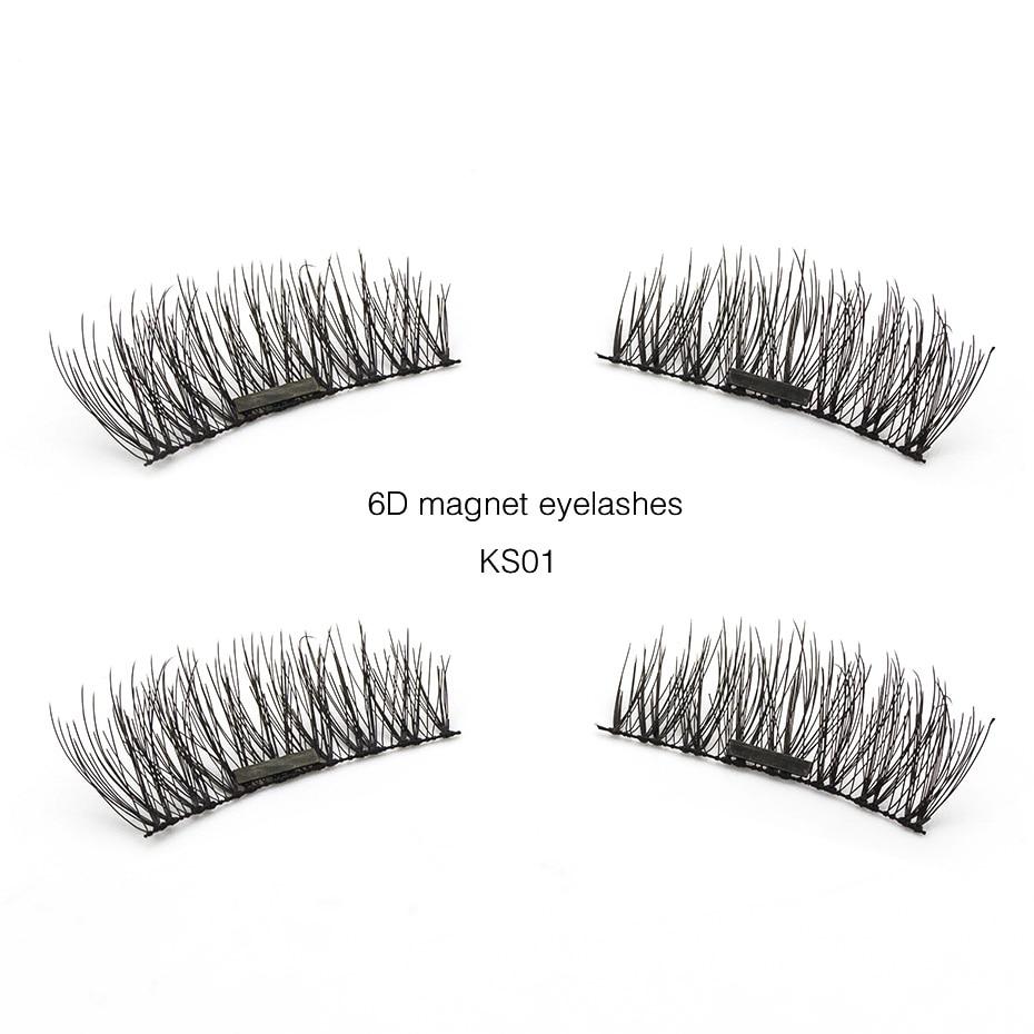 Pestañas magnéticas Genailish, 4 Uds./1 par de pestañas magnéticas 6D, pestañas postizas suaves reutilizables, pestañas postizas con caja para Makeup-KS01