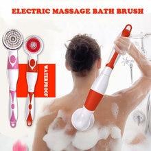Brosse de bain électrique 4 en 1   Brosse de nettoyage du corps étanche à manche Long, Massage douche à domicile, nettoyage du système de Spa, soins de santé