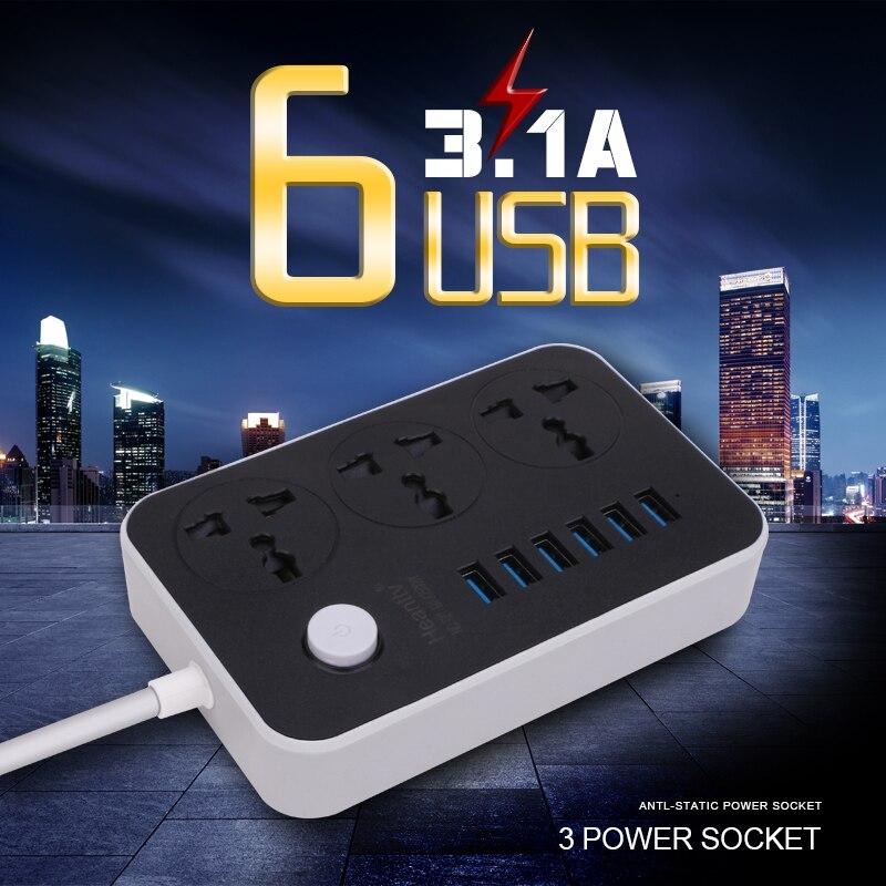 Ue plug power strip multi soquete com 6 usb power strip 3 tomadas carregador adaptador 1.8 m cabo de extensão soquete para rede filtro