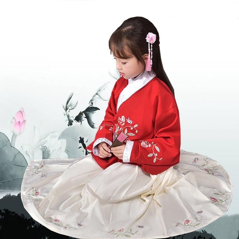 ملابس الأميرة القديمة للأطفال ، ملابس مطرزة Hanfu ، زي صيني تقليدي ، أسرة تانغ ، زي خرافي جوزينج