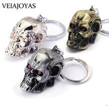 Motocicletas chaveiro filme terminator 3d crânio cabeça liga chaveiro encantos chaveiro masculino ghostface jóias acessórios atacado