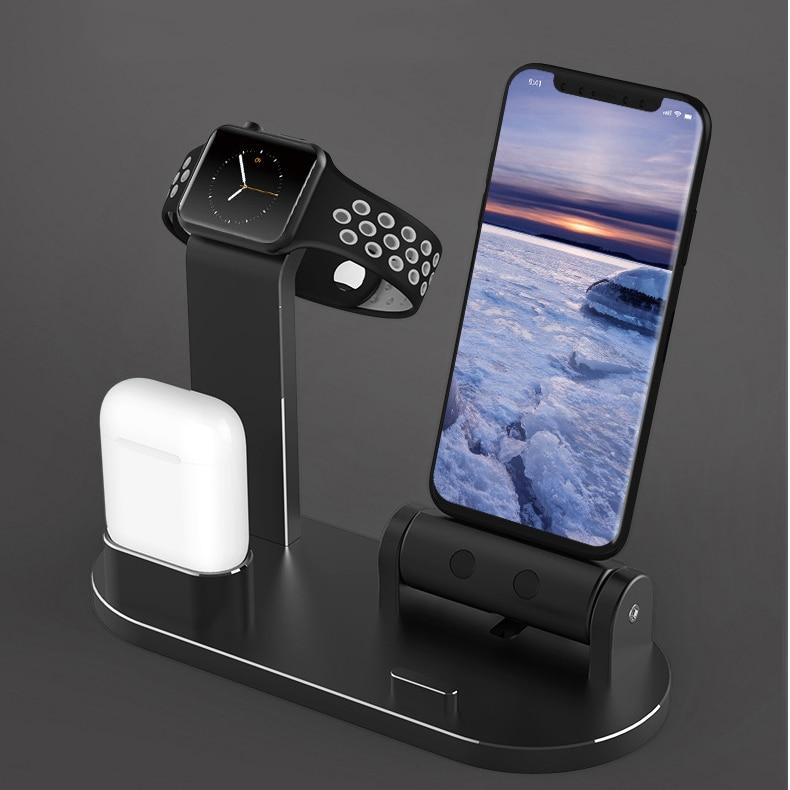 Soporte de teléfono Qi cargador inalámbrico para iPhoneXS Max XR X estación de carga inalámbrica rápida para apple i watch para Airpod