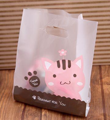 50 piezas Matt lindo cate bolsas de regalo de plástico bolsas festival de regalo paquete regalo 23x32x11 cm envío gratis