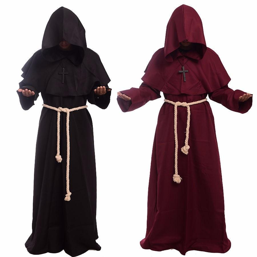 Monge com Capuz Manto Capa Frade Medieval Renascentista Sacerdote Masculino Traje Cos
