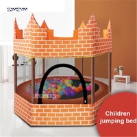 1.5M Diameter Round Kids Mini Trampoline Enclosure Net Pad Rebounder Outdoor Exercise orange Castle trampoline 150kg Load-beare