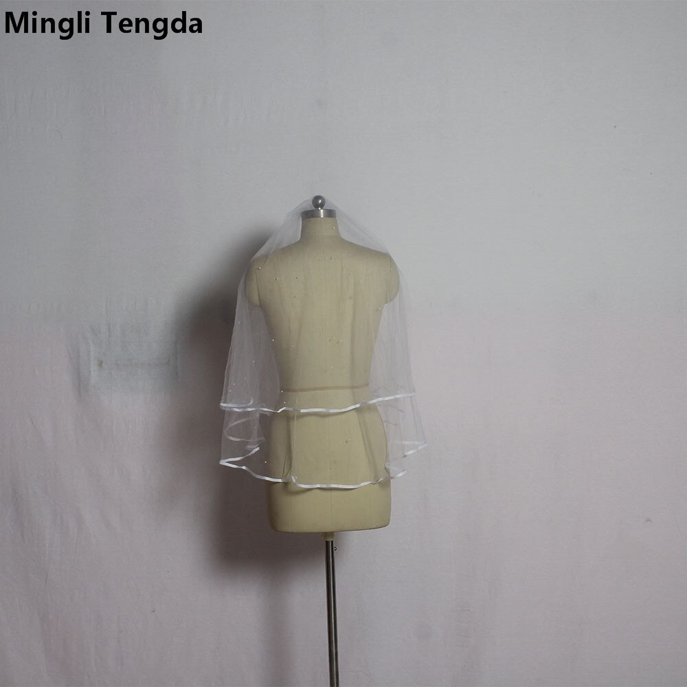 Velo de novia Sexy de dos capas Borde de cinta perlas blanco/Marfil corto nupcial velos accesorios Para novias moda Blusher Veil
