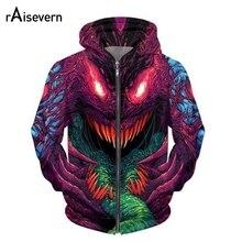 Raisevern nova moda zíper hoodie hiper besta 3d impressão zip-up hoodies moletom psicodélico masculino/feminino harajuku outfits topos