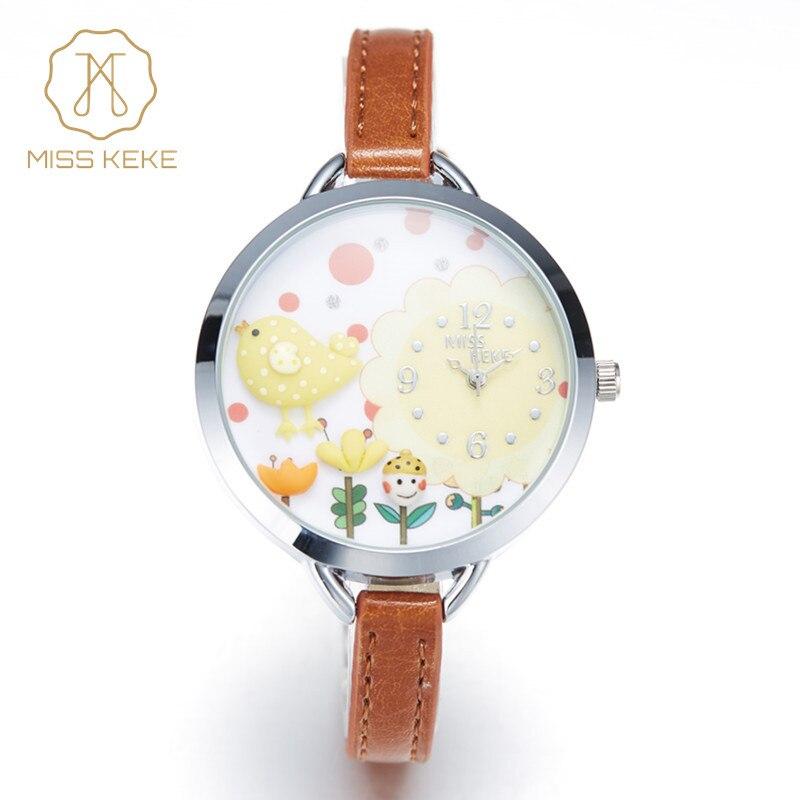 2016 MISS KEKE 3D arcilla lindo Mini flor amarilla del mundo pollo pájaro relojes niña niños cuarzo cuero relojes 821