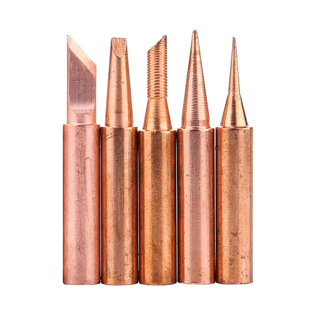 5pcs/lot Pure Copper 900M-T Soldering Iron Tip Lead-free Solder Tips Welding Head BGA Soldering Tools