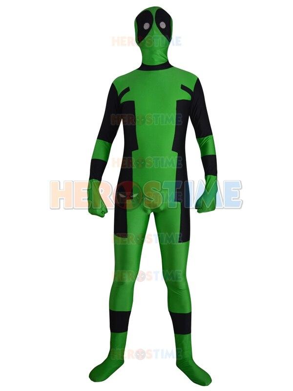Frete Grátis New Green Deadpool Costume Spandex Lycra Zentai Completa Corpo Xmen Traje Deadpool