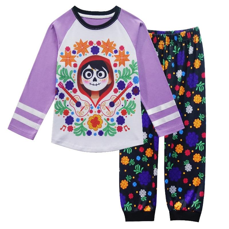2018 Moana otoño niñas pijamas de manga larga lindo COCO Pjs ropa de niño niños camisetas pijamas conjunto ropa de dormir niños camisón
