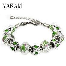 Fit Original Charms Bracelet Green Zircon Branch Pink Flower Opal Beads for Jewelry Making Women Pulseira European Berloque Gift
