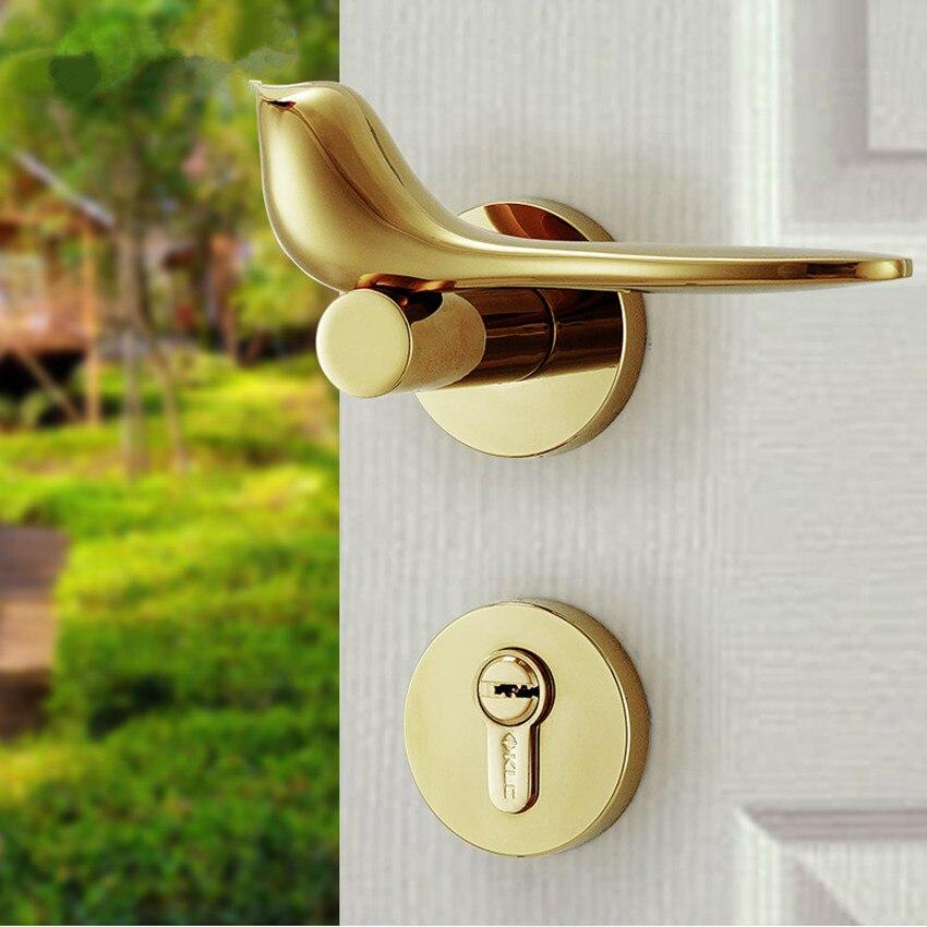 מודרני פשוט אופנה פנים חדר דלת מנעול כסף זהב מכאני אילם עץ מלא דלת חדר שינה יצירתי ציפור ידית נעילה