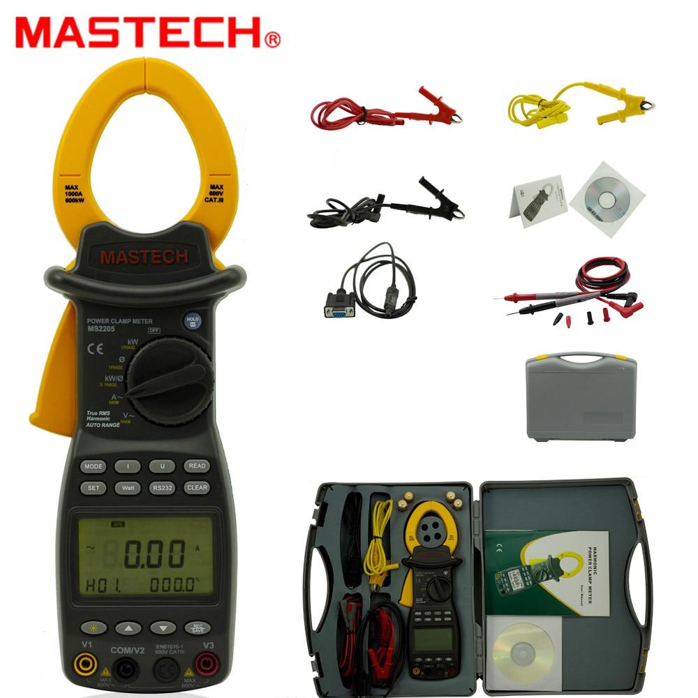 MASTECH-مقياس الطاقة الرقمي MS2205 ، ثلاث مراحل ، جهاز اختبار توافقي ، مع واجهة RS232