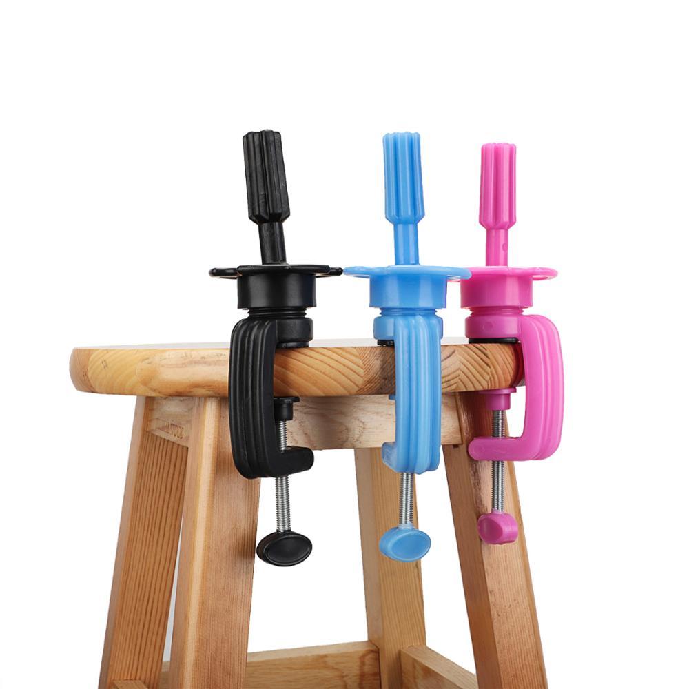 Тренировочный манекен для головы, подставка для парика, зажим для стола, пластиковый коготь для парикмахерских, синий, розовый, красный цвет
