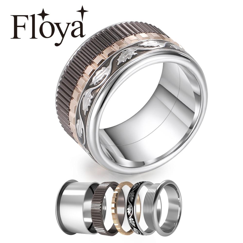 Cremo взаимозаменяемое свадебное кольцо с черными листьями, кольцо из нержавеющей стали, медитация, изысканные заполненные кольца