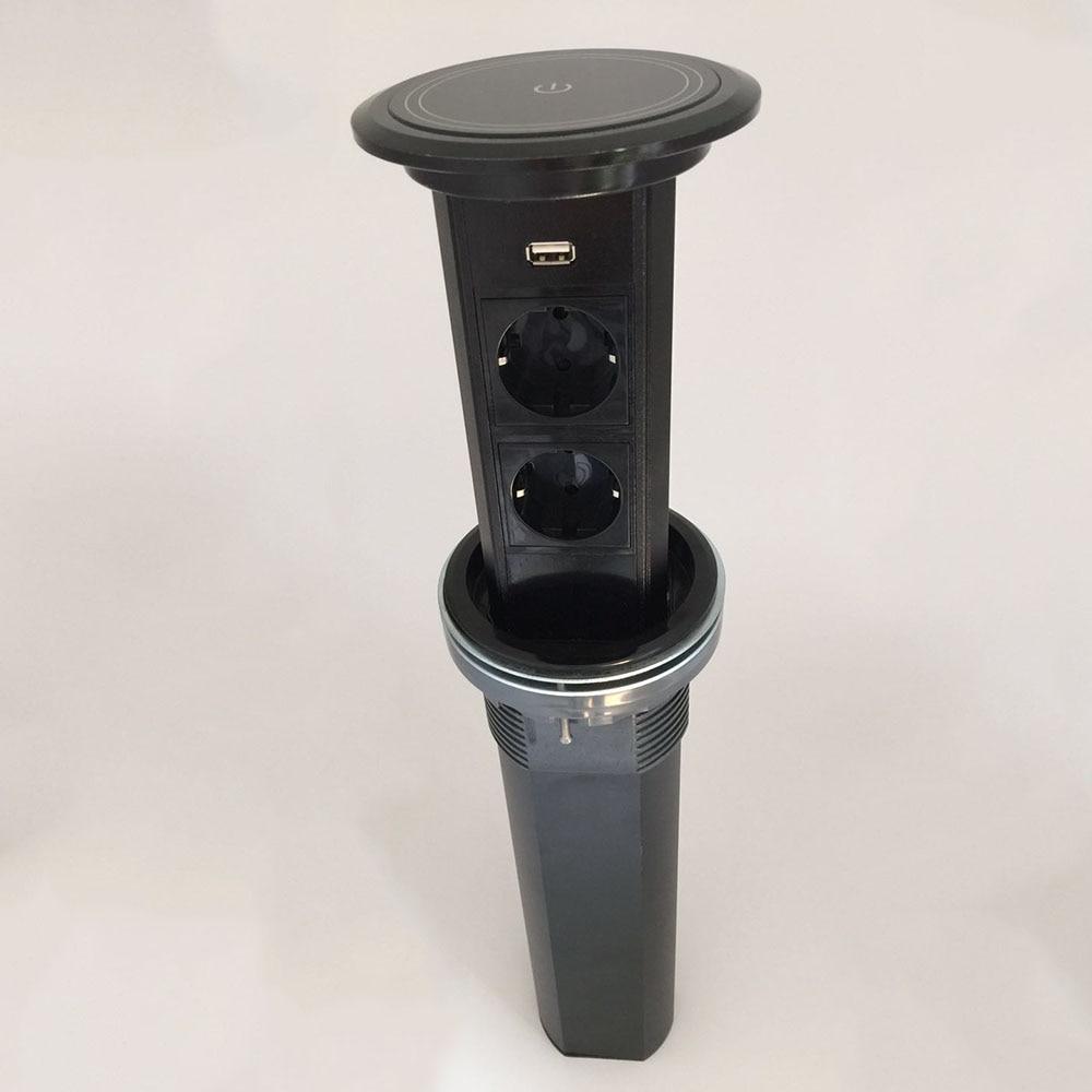 2019 Touch screen lifting / smart home desktop socket / 2 European standard power supply with usb charging Kitchen socket
