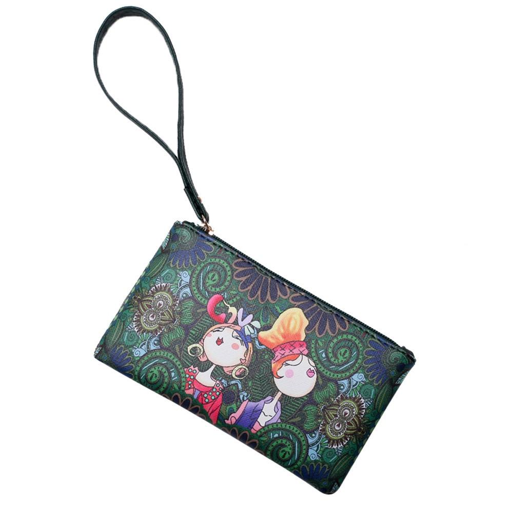 Модный повседневный кошелек для отдыха, с принтом девушки в лесу, с ремешком на запястье, на молнии, Женский Длинный кошелек #40