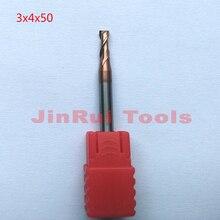 Jerray 1 pc 3mm 3x4x50L HRC55 2 Flûtes Plat fin mills Solide Carbide End Mills CNC routeur outil de fraisage cutter Outils couteau