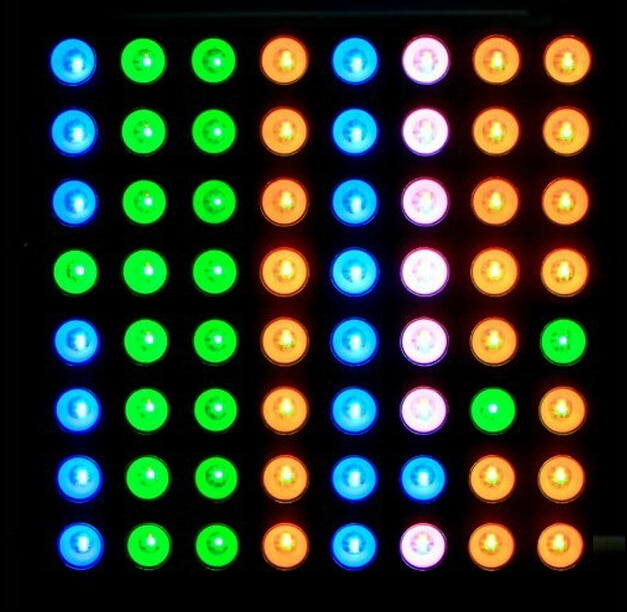 Módulo de visualización de matriz de puntos RGB de ánodo común a todo color de tres colores compatible con colorduino 60mm 8*8