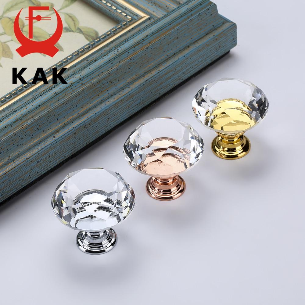 KAK 30mm Diamond Shape Crystal Glass Knobs and Handles Dresser Drawer Kitchen Cabinet Furniture Handle Hardware