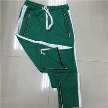 2018 Men Side stripe bottom zipper drawstring sweatpants high streetwear jogger elastic waist track pants for men