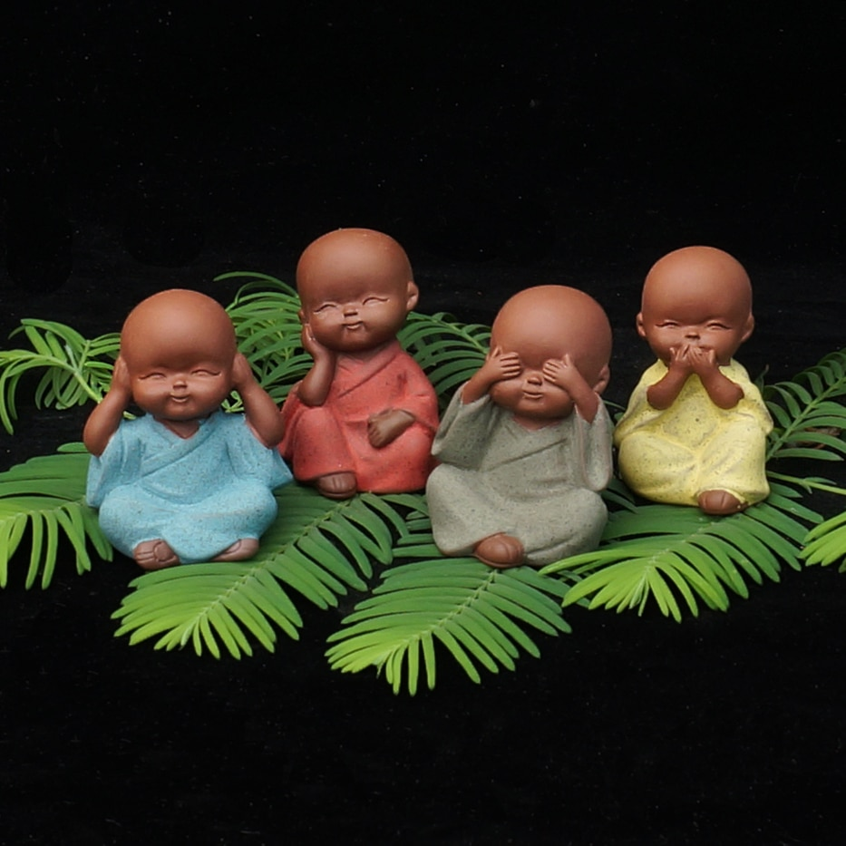 Mini estatua de monje de yoga joven, decoración de cerámica, figura articulada, tathagata, mandala, sonrisa, pequeño Buda, decoración del hogar