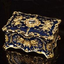 Boîte à bijoux en métal style Rectangle européen   Placage doré gaufré avec bibelots peints à la main bleus et bijoux