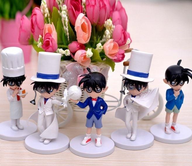 5 unids/set Detective Conan juguetes Anime acción figura herramientas de estilo de coche decoración del hogar Brinquedos regalo de Navidad