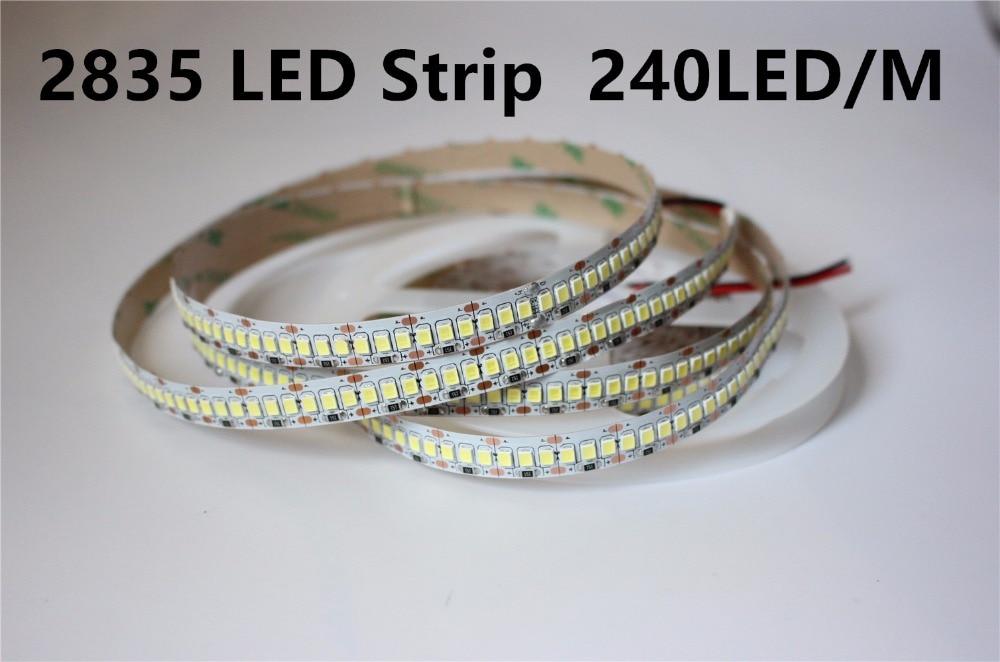 2835 SMD 240leds/m DC12V led flexible strip;5m long;120W;white PCB;non-waterproof;IP20