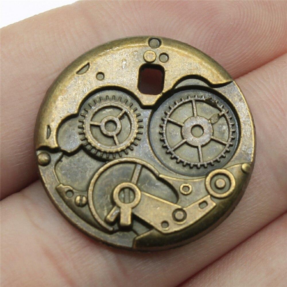 Fabricación de joyas Diy artesanía artesanal encantos 6 unids/lote Color bronce antiguo 1 pulgada (25mm) engranaje Steampunk colgante