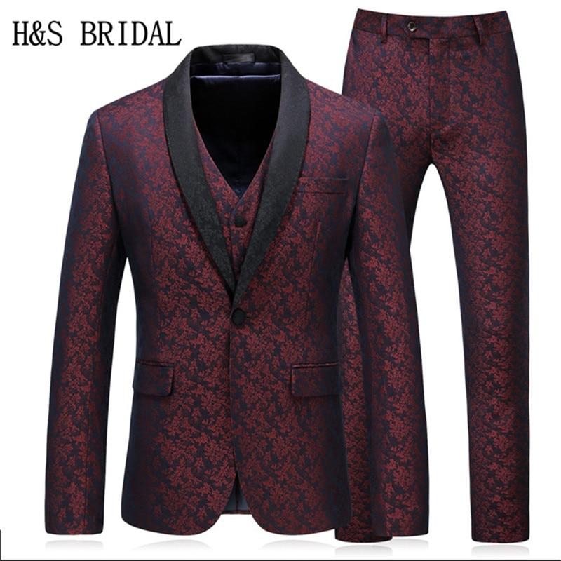 H & S BRIDAL عنابي الرجال ملابس رسمية رجال العريس سليم صالح زهرة نمط 3 قطع الرجال بدل زفاف العريس ارتداء البدلات الرسمية