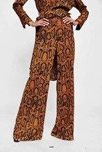 Hot koop Q0813C20 herfst nieuwe Europa en de Verenigde Staten met 1540 # gedrukt textuur van hoge taille broek