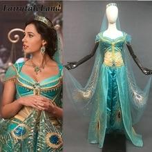 Nouvelle princesse jasmin Costume robe Sexy Halloween Cosplay Aladdin jasmin tenue paon broderie ventre danse Costume couronne