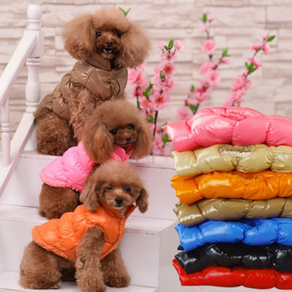 Ropa de invierno para perros 8 colores Pet acolchado chaleco abrigo cachorro cálido de lana de poliéster perro abrigos chaquetas XS-XXXL disfraz