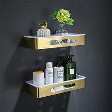 Bathroom Shelf Bath Shower Rack 304 Stainless Steel Corner Shelf Shower Shelf Bath Holder Wall Mounted Gold Square bath hardware