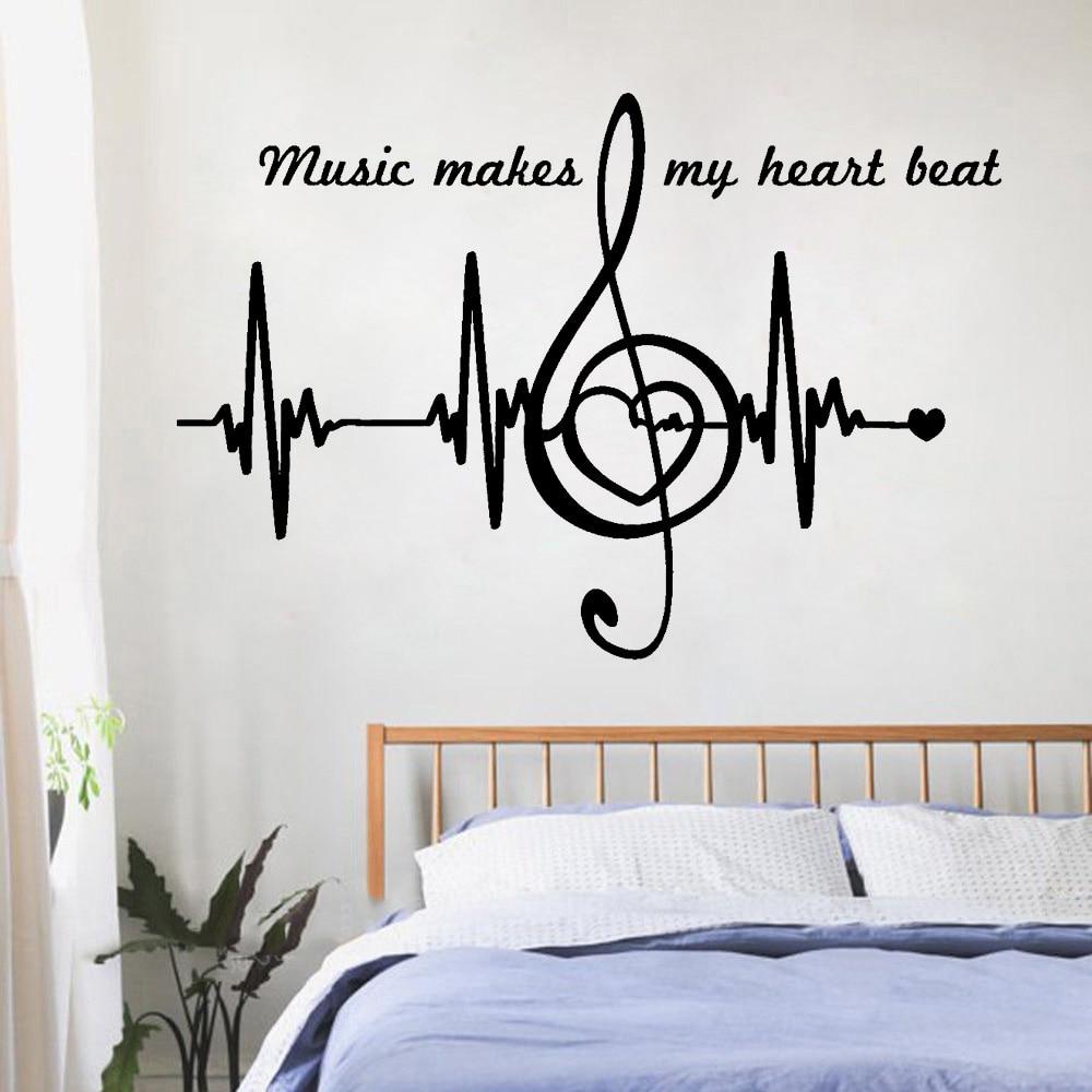 Corazón pulso latido del corazón diseño arte etiqueta extraíble para pared notas musicales cita decoración del hogar belleza dormitorio calcomanías decoración LY1511