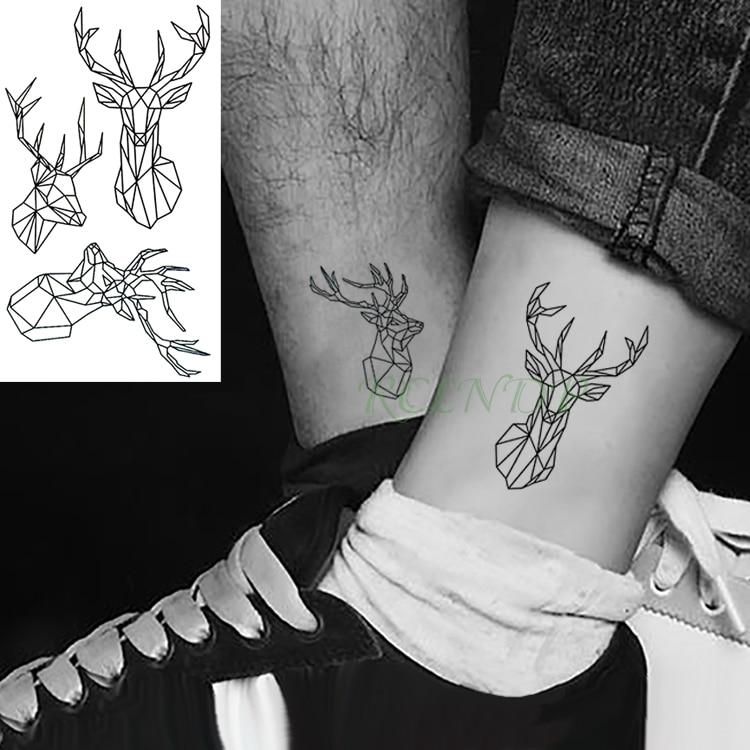 Tatuaje temporal a prueba de agua pegatinas Fawn Deer head tatuaje falso figura geométrica de animal Flash tatuaje mano parte trasera del pie para chica mujeres hombres