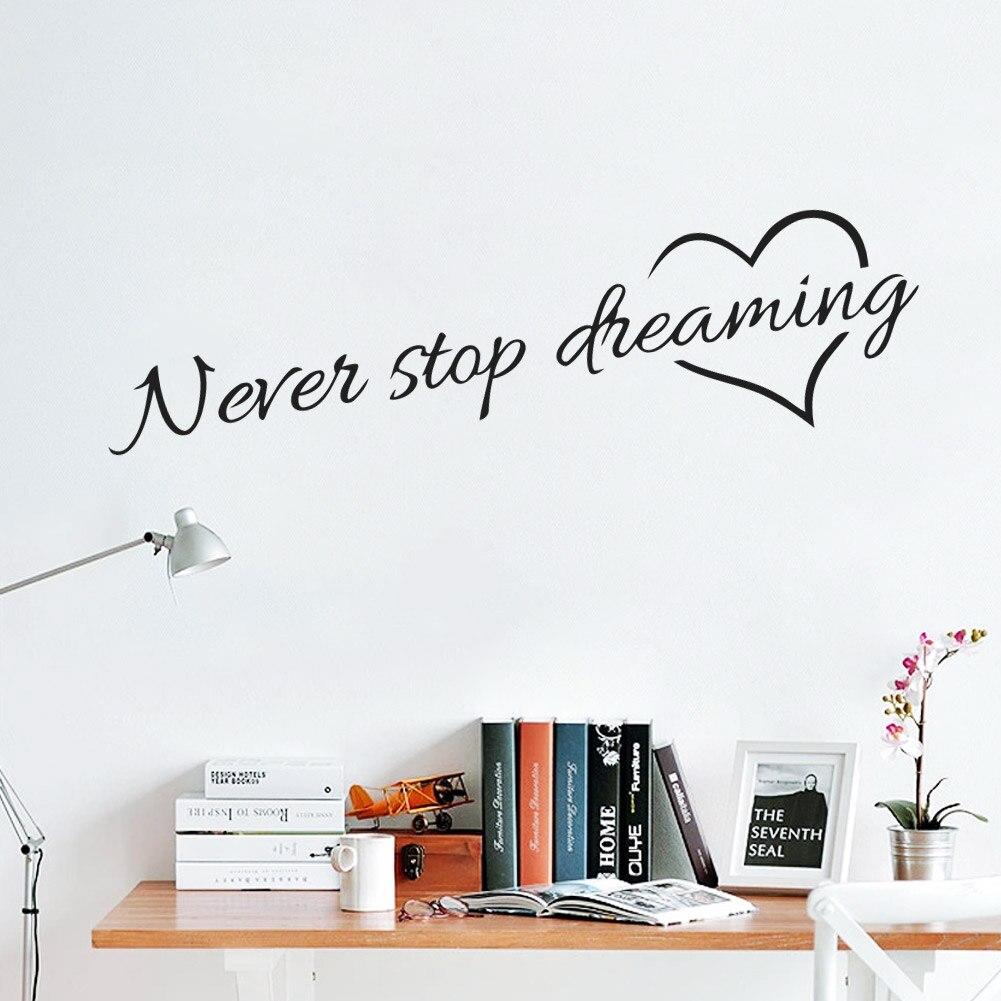 Nunca parar de sonhar Decalque Da Parede Do Vinil Palavras Parede Lettering Arte Adesivos de Parede Home Decor Decoração de Casamento Sala de estar
