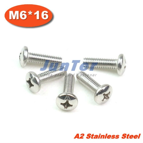 100pcs/lot DIN7985 M6*16 Stainless Steel A2 Pan Head Phillips (Cross recessed pan head) Screw