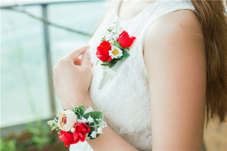 Hecho a mano Rosa flores artificiales ramo de boda ramillete para novios flor para muñeca de novia hermana Flor de mano