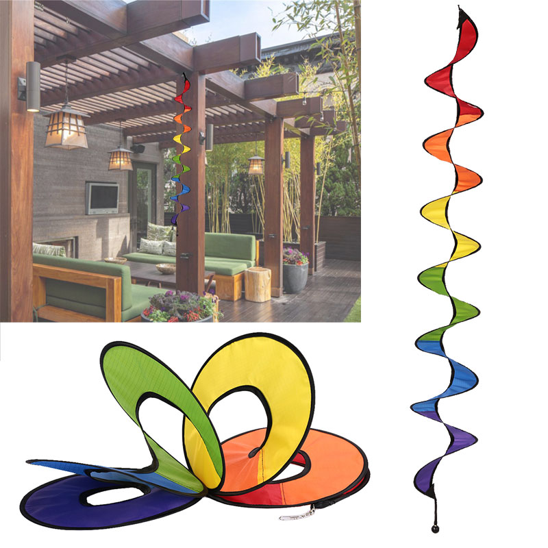 Espiral moinho de vento 3d colorido arco-íris girador vento casa decoração do jardim pano originalidade pinwheel brinquedo acampamento bonito whirligig