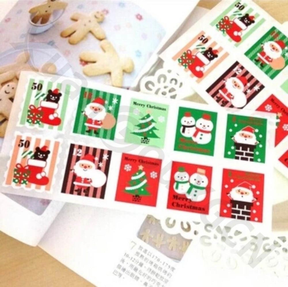 800set DIY pegatinas para hornear sello de árbol de Navidad etiquetas de regalo festival Santa etiqueta para fiesta marcas Decoración Accesorios