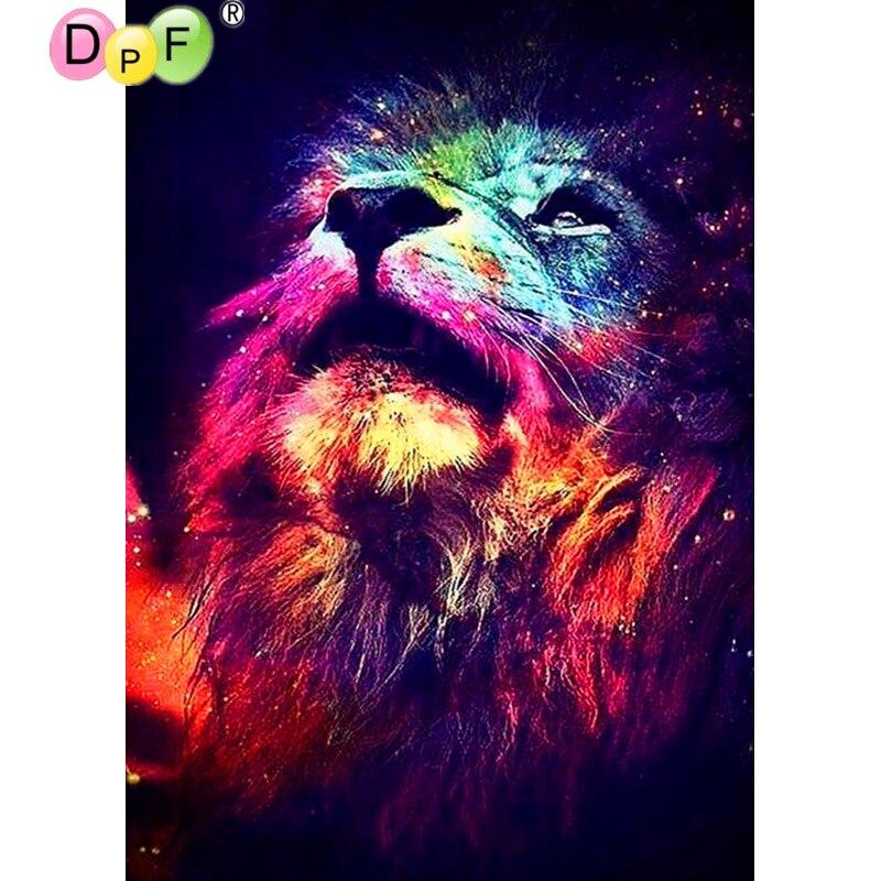 DPF full range 5D DIY diamond painting cross stitch look up lion diamond embroidery rhinestone diamond mosaic painting gift