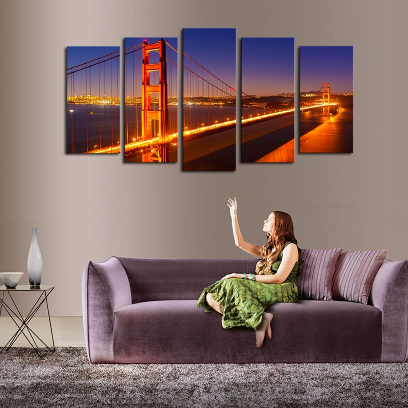 Luxry Unframed 5 Panels Night Bridge Scenery Picture Print Painting Modern Canvas Wall Art For Wall Decor Home Decoration Artwor