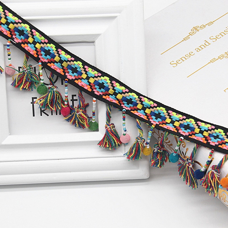 2cm cinta de encaje colorido étnico estilo bohemio bordado encaje Trim borla con bola redonda colgante accesorios de collares 1 yarda