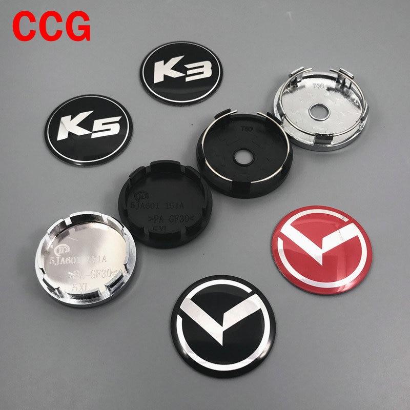 4 pçs 56mm 60mm k k3 k5 logotipo centro da roda do carro capa hub capa resina aro resina emblema à prova de poeira decoração criativa emblema adesivo