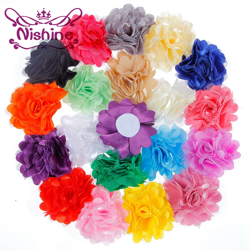 "Nishine 120pcs/lot 2"" Satin Lace Flower For Headband Hair Clips Fabric Flower Flat Back For DIY Kids Headwear Hair Accessories"