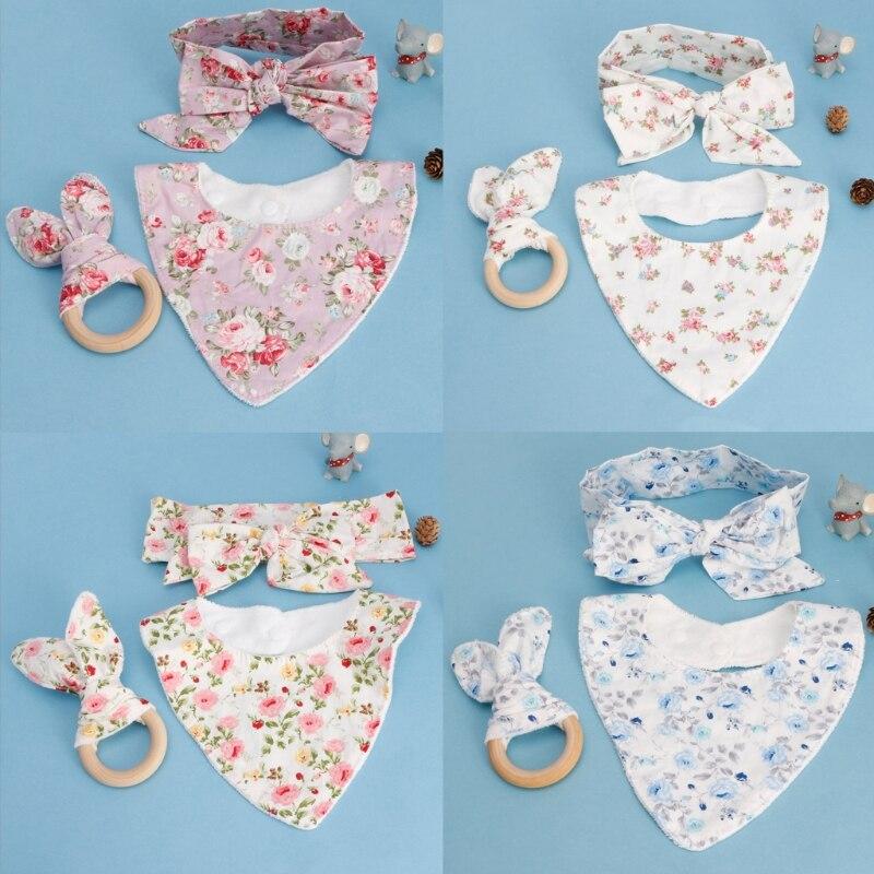 KLV 3Pcs Baby Rabbit Ears Teether Cotton Bibs Headband Infant Saliva Towel Care Set Baby Nursing Gifts