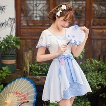 Princesa doce lolita vestido doce chuva doce verão chinês estilo antigo refrescante chiffon vestido de princesa c22ab6091